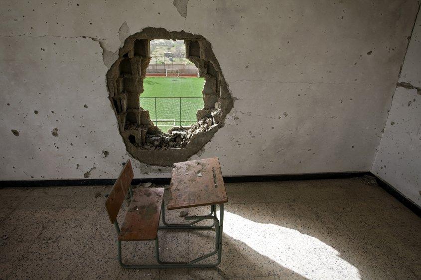 Escuela destruida en Siria por los combates